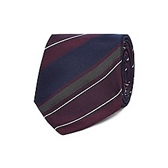 The Collection - Dark red silk ombre striped slim tie