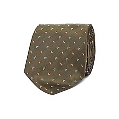 The Collection - Olive paisley print silk tie