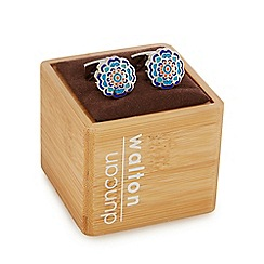 Duncan Walton - Silver-plated blue 'Appleton' floral enamel cufflinks in a gift box