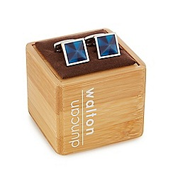 Duncan Walton - Silver plated blue 'Masson' cat eye square cufflinks in a gift box