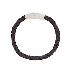 Duncan Walton - Black 'Barry' leather woven bracelet