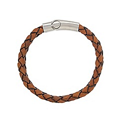 Duncan Walton - Brown 'Foster' leather woven bracelet