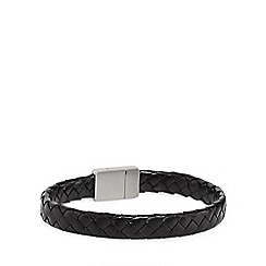 Duncan Walton - Black 'Baker' leather bracelet