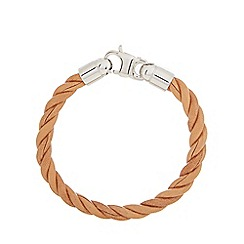 Duncan Walton - Tan leather 'Scott' twist bracelet
