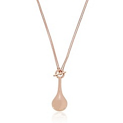 Pilgrim - Rose gold plated T bar teardrop necklace