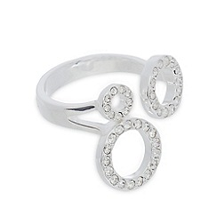 Pilgrim - Silver plated triple circle embellished ring