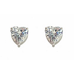 Finesse - Silver swarovski crystal heart earrings