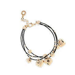 Pilgrim - Rose gold plated hearts triple cord bracelet