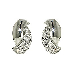 Finesse - Rhodium plated Swarovski curve clip earrings