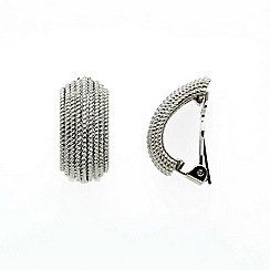 Finesse - Rhodium textured half hoop clip earrings