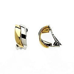 Finesse - Gold & rhodium plated wave clip earrings