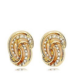 Anne Klein - Gold and crystal knot clip on earrings