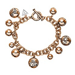 Guess - Rose gold plated bauble charm chain bracelet ubb51201