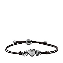 Fossil - Heart 'Iconic Leather' brown leather bracelet