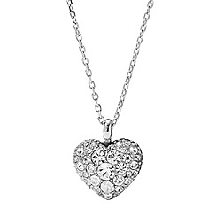 Fossil - Silver heart crystal necklace