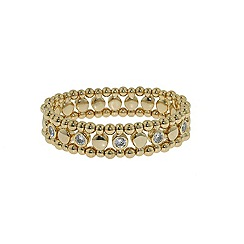 Finesse - Gold ball & brilliant cubic zirconia stretch bracelet