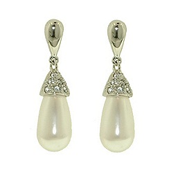 Finesse - Silver Swarovski crystal capped teardrop pearl earrings