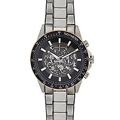J by Jasper Conran - Mens' Silver Plated Skeleton Analogue Watch