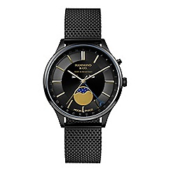 Hammond & Co. by Patrick Grant - Black gents mesh moonphase dial watch
