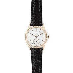 J by Jasper Conran - Ladies black crystal analogue watch
