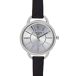 Infinite - Ladies black leather strap watch