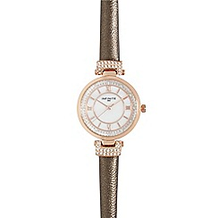 Infinite - Ladies bronze diamante circle watch