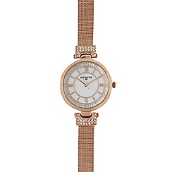 Infinite - Ladies gold plated mesh diamante circle watch
