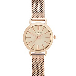 Infinite - Ladies rose gold mesh analogue watch