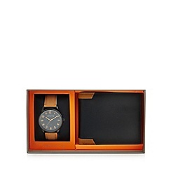 Red Herring - Mens leather watch and wallet gift set