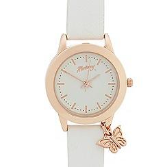 Mantaray - Ladies white bee charm analogue watch