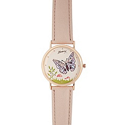 Mantaray - Ladies pink butterfly analogue watch
