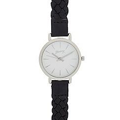 Mantaray - Ladies black plaited analogue watch