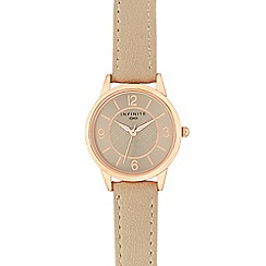 Infinite - Ladies taupe leather strap watch