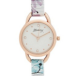 Mantaray - Ladies lilac floral print stretch bracelet watch