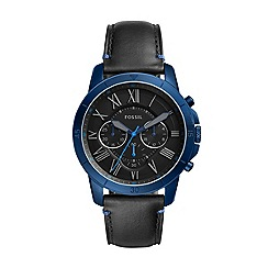 Fossil - Men's black 'Grant Sport' leather strap watch