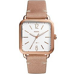 Fossil - Ladies nude 'micah' quartz leather strap watch
