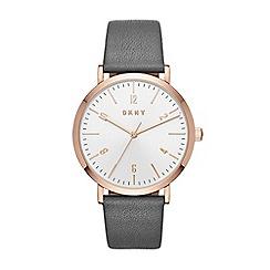 DKNY - Ladies grey 'Minetta' leather strap watch