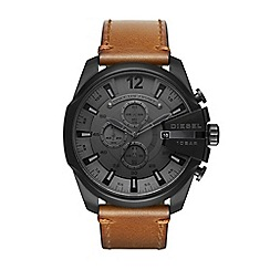 Diesel - Men's brown 'Mega Chief' chronograph leather strap watch