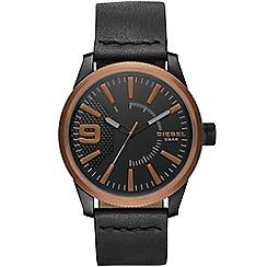 Diesel - Men's black 'rasp' leather strap watch