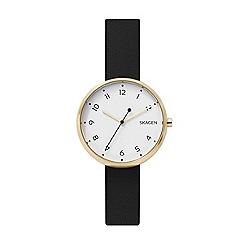 Skagen - Ladies black 'Signatur' quartz leather strap watch