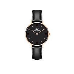 Daniel Wellington - Rose Gold 'Classic Petite Sheffield' Black Leather Strap 32mm Watch