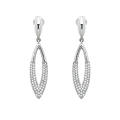Finesse - Silver crystal teardrop clip earrings