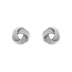 Finesse - Silver twisted rope knot earrings