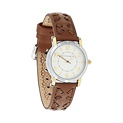 Bailey & Quinn - Ladies brown stab stitched leather strap watch
