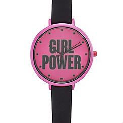 Red Herring - Ladies' pink and black 'Girl Power' analogue watch