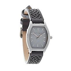 Bailey & Quinn - Ladies grey laser cut leather strap watch