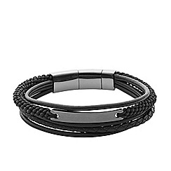 Fossil - Men's black multi cord leather bracelet
