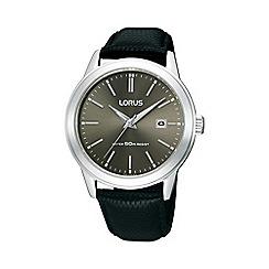Lorus - Men's  black round dial with black leather strap watch rh931bx9