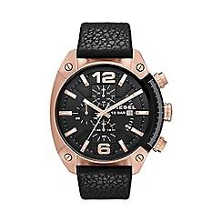 Diesel - Men's 'Overflow' black dial & leather strap watch dz4297
