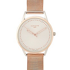 Infinite - Ladies rose gold plated mesh strap analogue watch